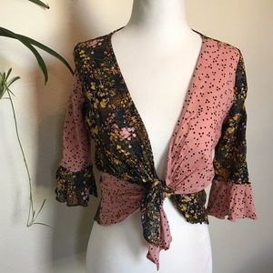 Urban Outfitters Multi Print Wrap Tie Front Crop